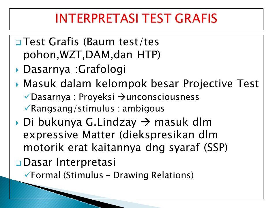  Test Grafis (Baum test/tes pohon,WZT,DAM,dan HTP)  Dasarnya :Grafologi  Masuk dalam kelompok besar Projective Test Dasarnya : Proyeksi  unconscio