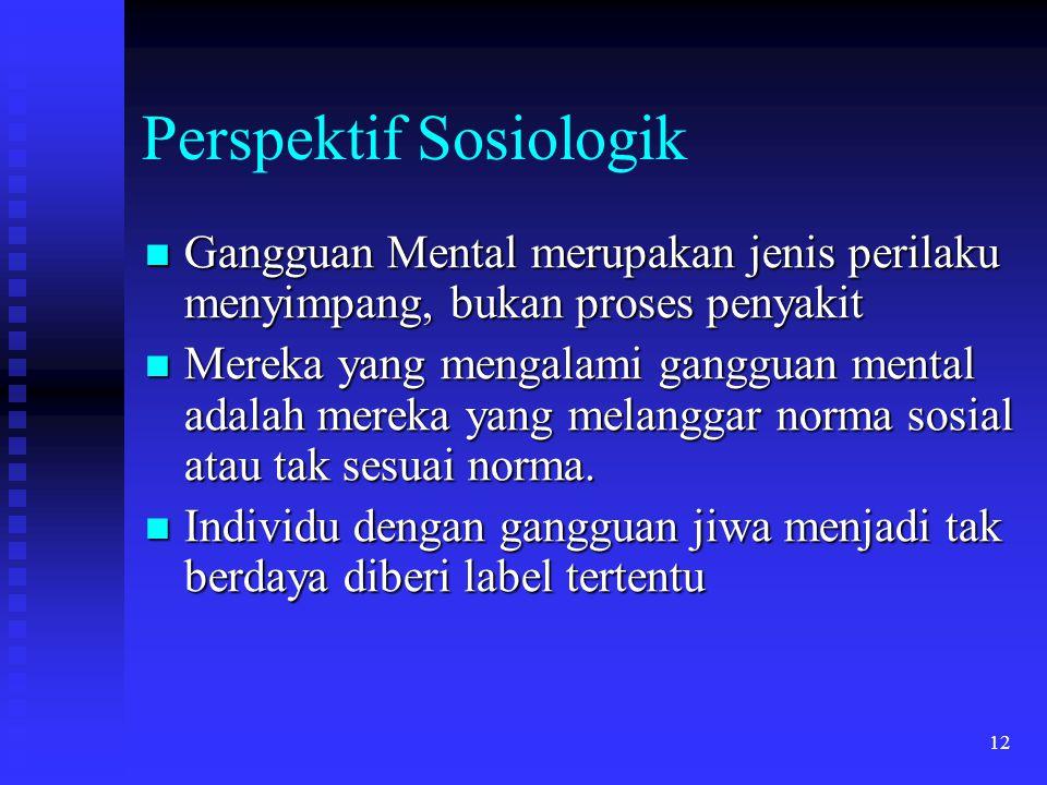 12 Perspektif Sosiologik Gangguan Mental merupakan jenis perilaku menyimpang, bukan proses penyakit Gangguan Mental merupakan jenis perilaku menyimpan
