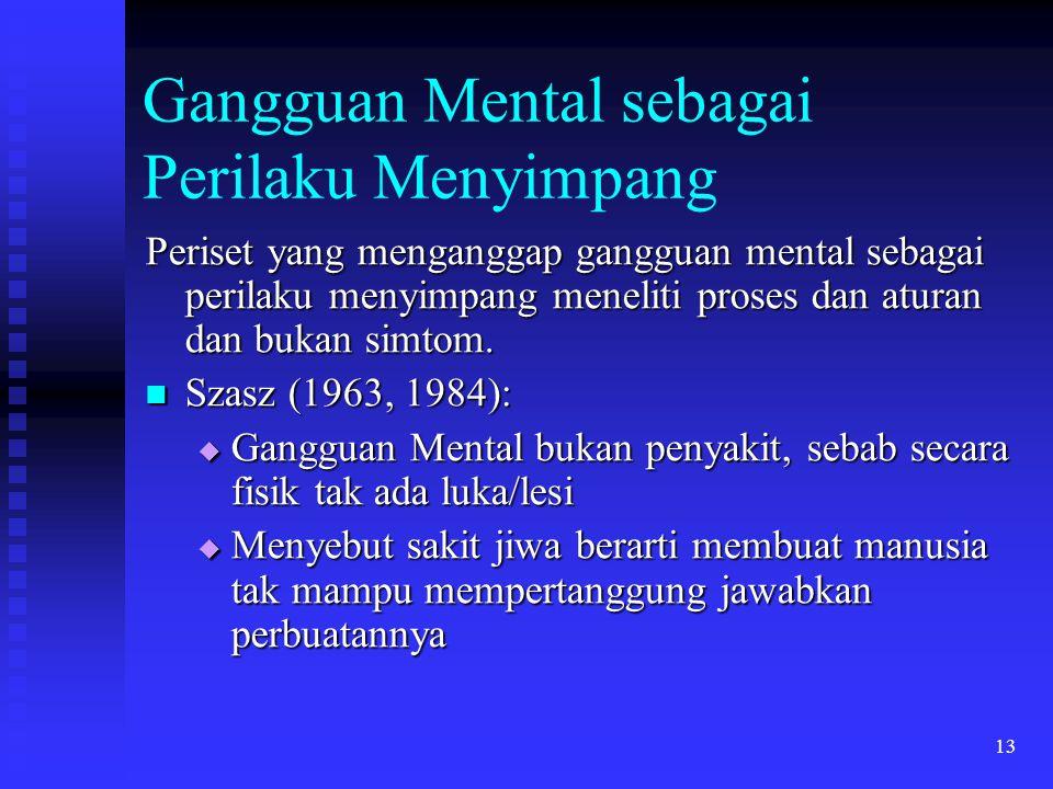 13 Gangguan Mental sebagai Perilaku Menyimpang Periset yang menganggap gangguan mental sebagai perilaku menyimpang meneliti proses dan aturan dan buka