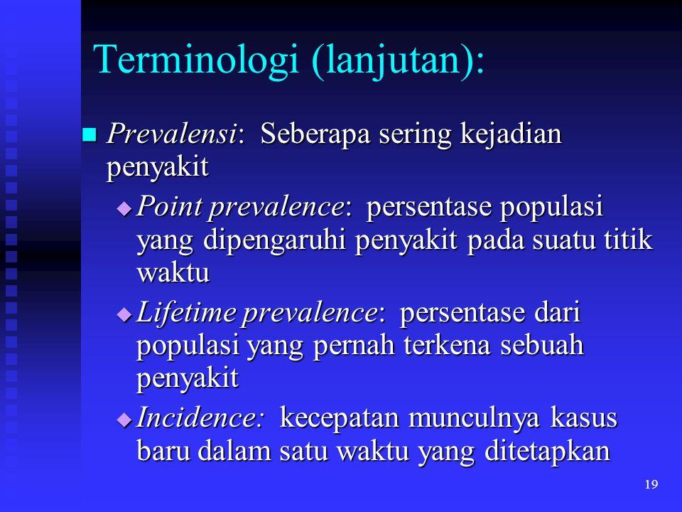 19 Terminologi (lanjutan): Prevalensi: Seberapa sering kejadian penyakit Prevalensi: Seberapa sering kejadian penyakit  Point prevalence: persentase