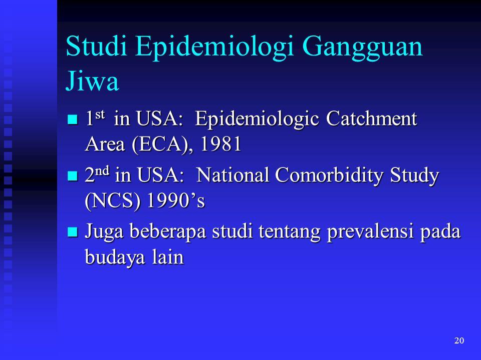 20 Studi Epidemiologi Gangguan Jiwa 1 st in USA: Epidemiologic Catchment Area (ECA), 1981 1 st in USA: Epidemiologic Catchment Area (ECA), 1981 2 nd i