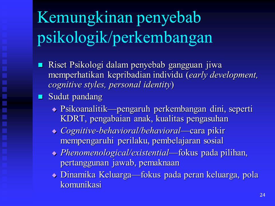 24 Kemungkinan penyebab psikologik/perkembangan Riset Psikologi dalam penyebab gangguan jiwa memperhatikan kepribadian individu (early development, co