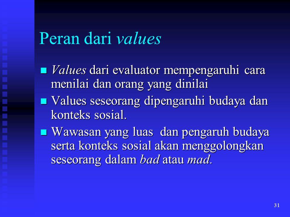 31 Peran dari values Values dari evaluator mempengaruhi cara menilai dan orang yang dinilai Values dari evaluator mempengaruhi cara menilai dan orang