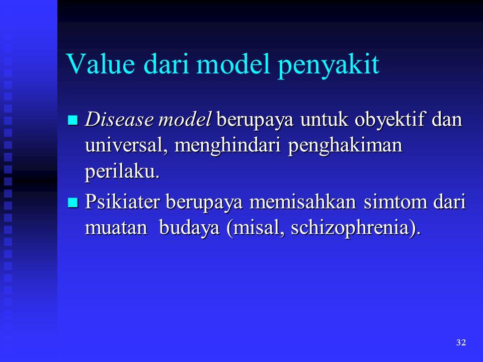 32 Value dari model penyakit Disease model berupaya untuk obyektif dan universal, menghindari penghakiman perilaku. Disease model berupaya untuk obyek