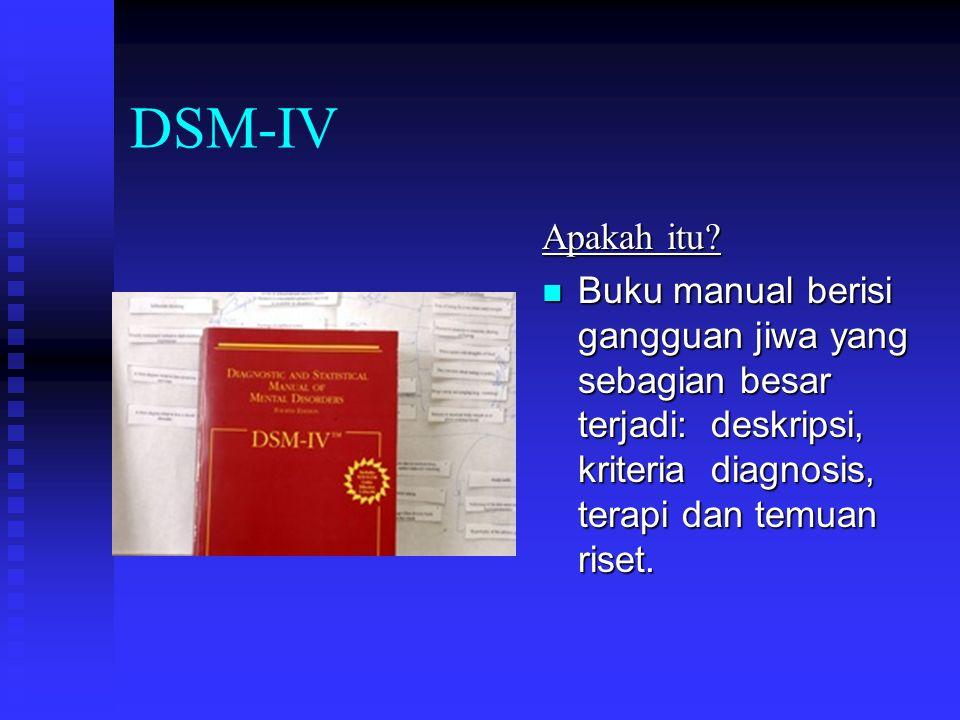 DSM-IV Apakah itu? Buku manual berisi gangguan jiwa yang sebagian besar terjadi: deskripsi, kriteria diagnosis, terapi dan temuan riset.