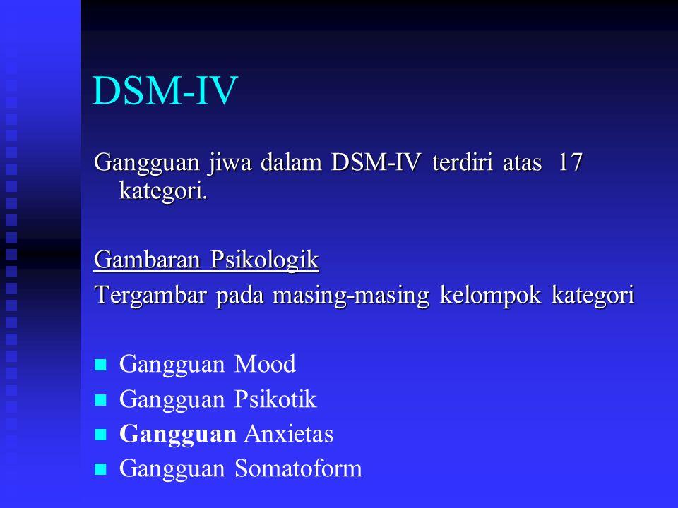 DSM-IV Gangguan jiwa dalam DSM-IV terdiri atas 17 kategori. Gambaran Psikologik Tergambar pada masing-masing kelompok kategori Gangguan Mood Gangguan