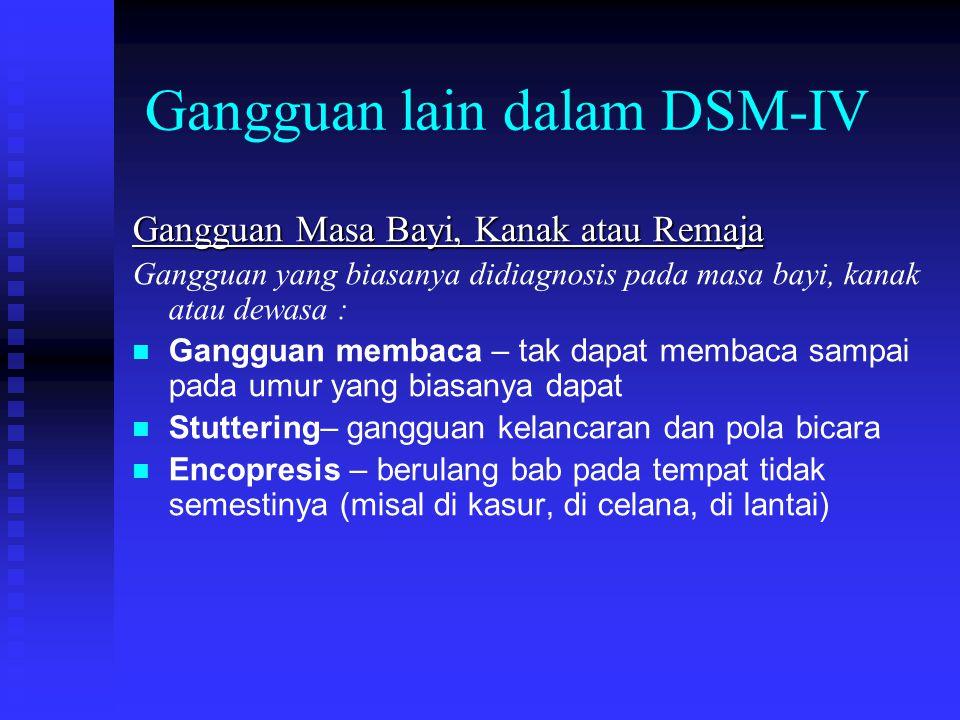 Gangguan lain dalam DSM-IV Gangguan Masa Bayi, Kanak atau Remaja Gangguan yang biasanya didiagnosis pada masa bayi, kanak atau dewasa : Gangguan memba