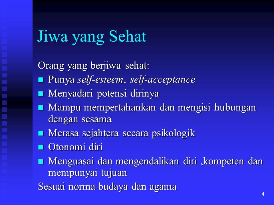 4 Jiwa yang Sehat Orang yang berjiwa sehat: Punya self-esteem, self-acceptance Punya self-esteem, self-acceptance Menyadari potensi dirinya Menyadari