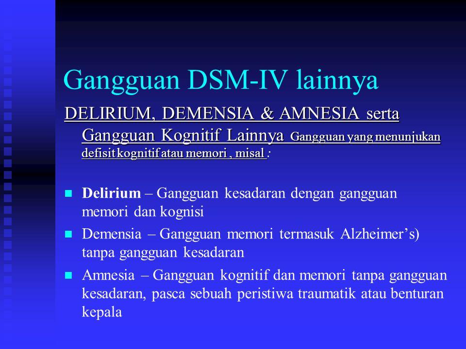 Gangguan DSM-IV lainnya DELIRIUM, DEMENSIA & AMNESIA serta Gangguan Kognitif Lainnya Gangguan yang menunjukan defisit kognitif atau memori, misal DELI