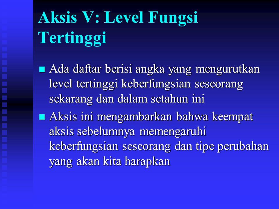 Aksis V: Level Fungsi Tertinggi Ada daftar berisi angka yang mengurutkan level tertinggi keberfungsian seseorang sekarang dan dalam setahun ini Ada da