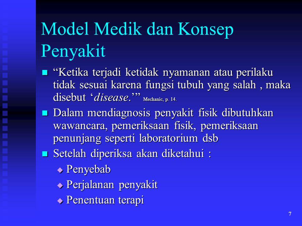 """7 Model Medik dan Konsep Penyakit """"Ketika terjadi ketidak nyamanan atau perilaku tidak sesuai karena fungsi tubuh yang salah, maka disebut 'disease.'"""""""