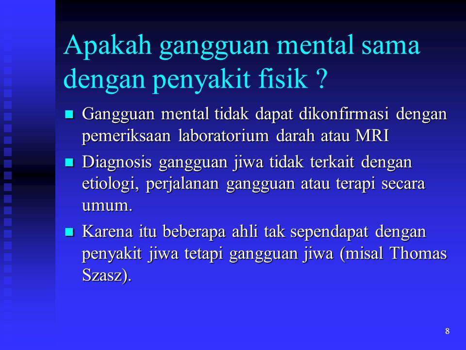 9 Perspektif DSM Gangguan Mental menggambarkan perilaku yang secara klinis nampak atau sindroma psikologik pada individu karena didera stres kini (misal simtom nyeri) atau disabilitas. Gangguan Mental menggambarkan perilaku yang secara klinis nampak atau sindroma psikologik pada individu karena didera stres kini (misal simtom nyeri) atau disabilitas. DSM membuat diagnosis psikiatri menyamai penyakit diagnosis medik.