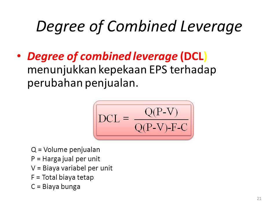 Degree of Combined Leverage Degree of combined leverage (DCL) menunjukkan kepekaan EPS terhadap perubahan penjualan. 21 Q = Volume penjualan P = Harga