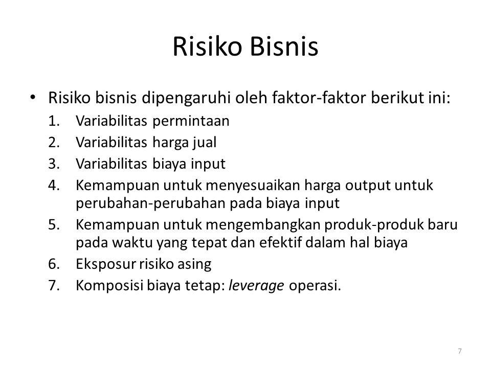 Risiko Bisnis Risiko bisnis dipengaruhi oleh faktor-faktor berikut ini: 1.Variabilitas permintaan 2.Variabilitas harga jual 3.Variabilitas biaya input