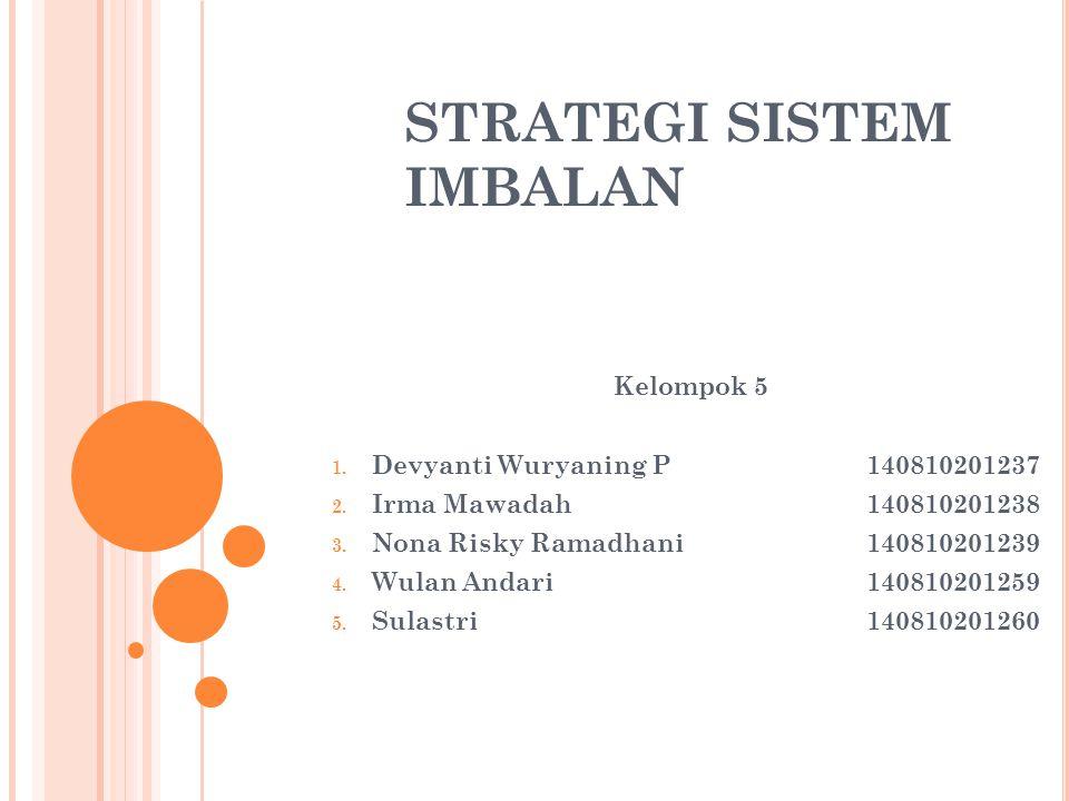 STRATEGI SISTEM IMBALAN Kelompok 5 1.Devyanti Wuryaning P140810201237 2.