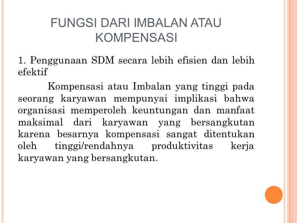 FUNGSI DARI IMBALAN ATAU KOMPENSASI 1.