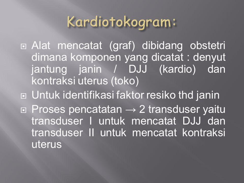  Internal → kateter kedalam kavum uteri  Eksternal → tempel elektrode pada dinding abdomen  Metode internal → pilihan krn.hasil lebih tepat