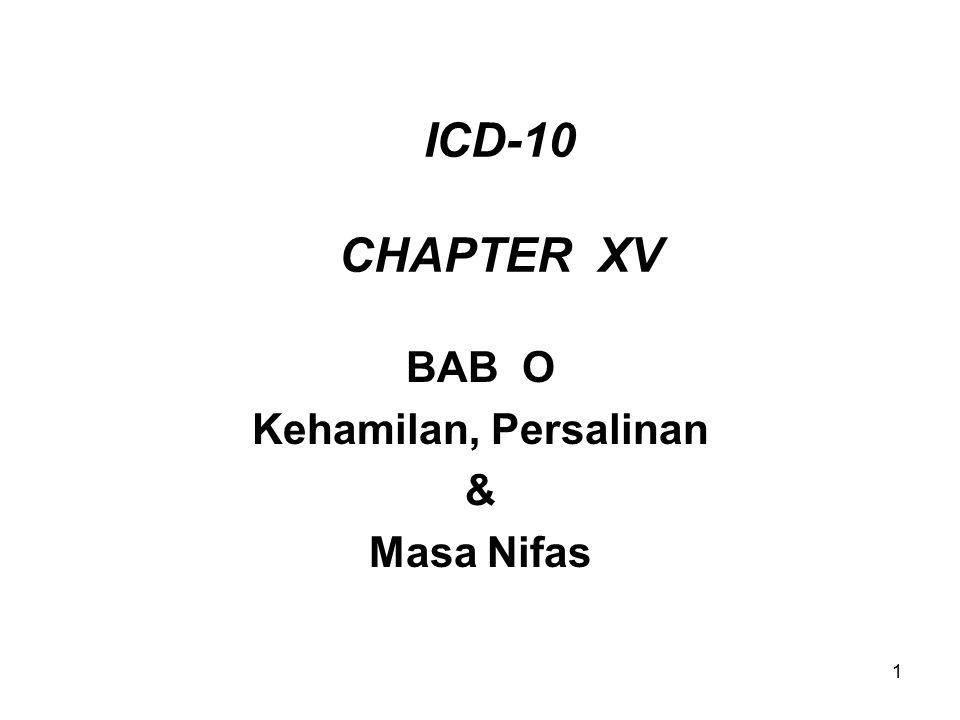 1 ICD-10 CHAPTER XV BAB O Kehamilan, Persalinan & Masa Nifas