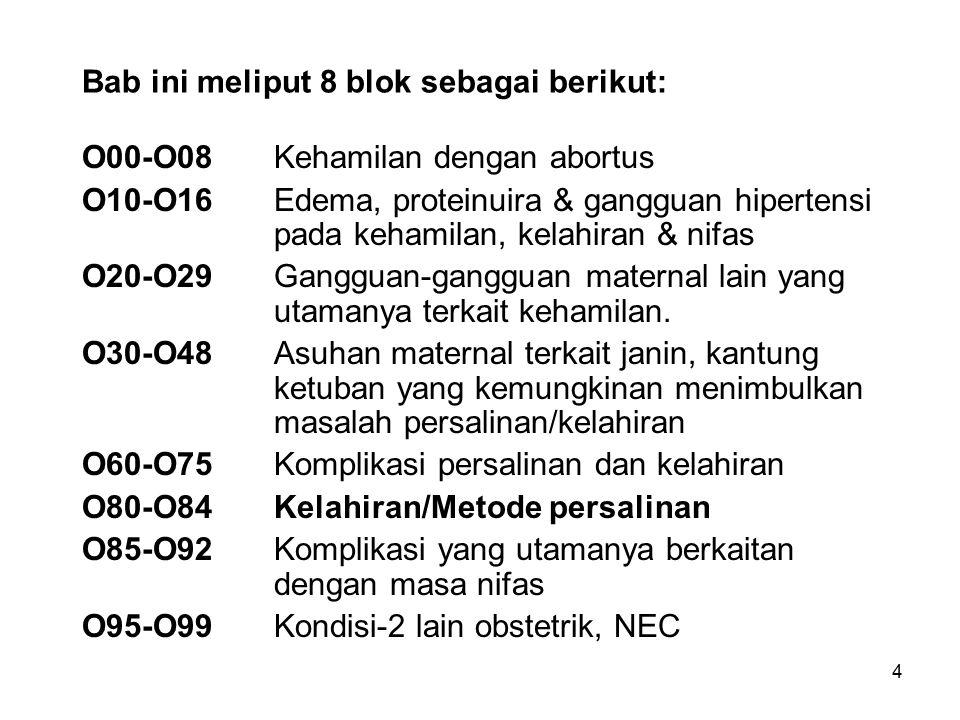 4 Bab ini meliput 8 blok sebagai berikut: O00-O08Kehamilan dengan abortus O10-O16Edema, proteinuira & gangguan hipertensi pada kehamilan, kelahiran &