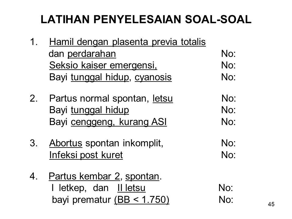 45 LATIHAN PENYELESAIAN SOAL-SOAL 1.Hamil dengan plasenta previa totalis dan perdarahan No: Seksio kaiser emergensi, No: Bayi tunggal hidup, cyanosis No: 2.Partus normal spontan, letsu No: Bayi tunggal hidup No: Bayi cenggeng, kurang ASI No: 3.Abortus spontan inkomplit, No: Infeksi post kuret No: 4.