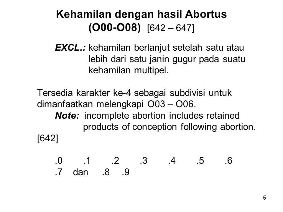5 Kehamilan dengan hasil Abortus (O00-O08) [642 – 647] EXCL.: kehamilan berlanjut setelah satu atau lebih dari satu janin gugur pada suatu kehamilan multipel.