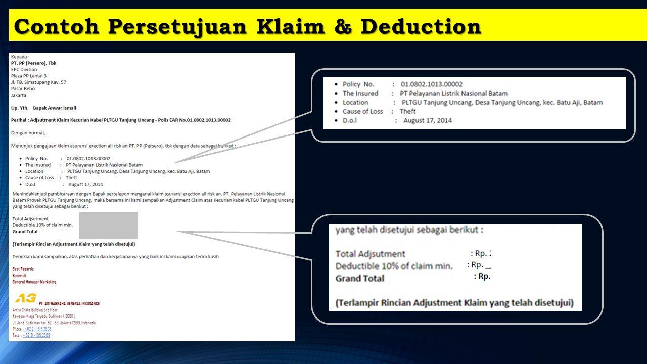 Contoh Persetujuan Klaim & Deduction