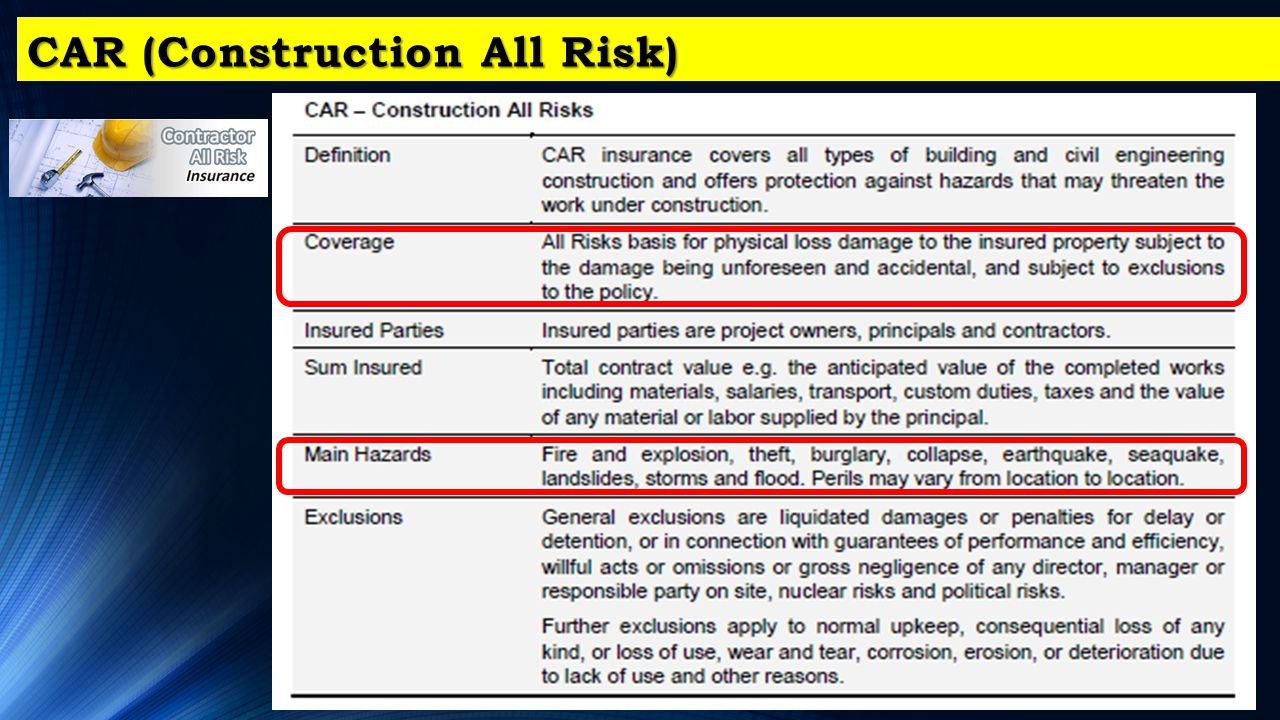 CAR (Construction All Risk)