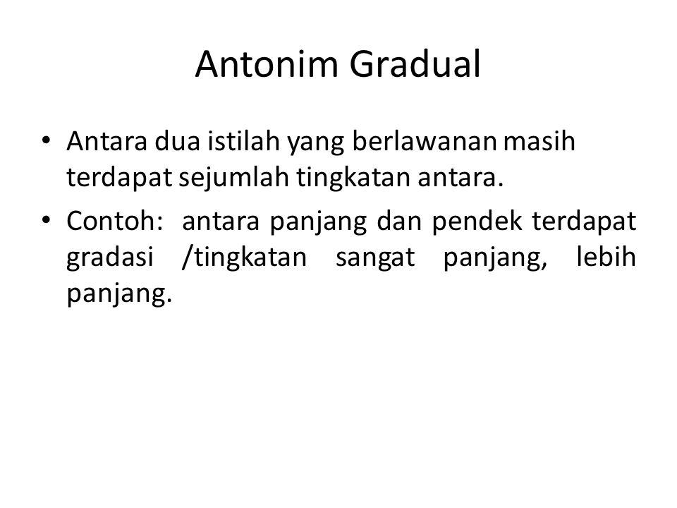 Antonim Gradual Antara dua istilah yang berlawanan masih terdapat sejumlah tingkatan antara. Contoh: antara panjang dan pendek terdapat gradasi /tingk
