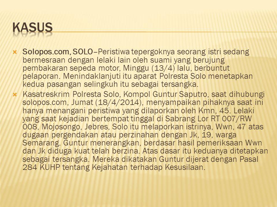  Solopos.com, SOLO–Peristiwa tepergoknya seorang istri sedang bermesraan dengan lelaki lain oleh suami yang berujung pembakaran sepeda motor, Minggu (13/4) lalu, berbuntut pelaporan.