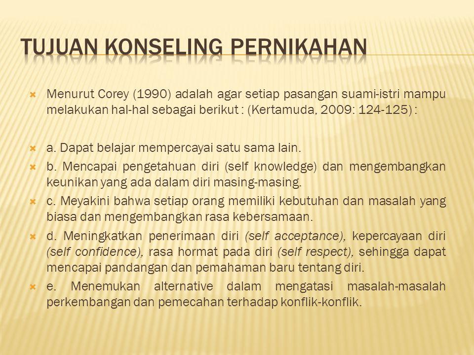  Menurut Corey (1990) adalah agar setiap pasangan suami-istri mampu melakukan hal-hal sebagai berikut : (Kertamuda, 2009: 124-125) :  a.