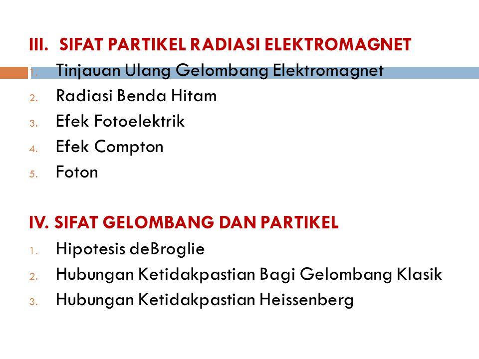 III. SIFAT PARTIKEL RADIASI ELEKTROMAGNET 1. Tinjauan Ulang Gelombang Elektromagnet 2. Radiasi Benda Hitam 3. Efek Fotoelektrik 4. Efek Compton 5. Fot