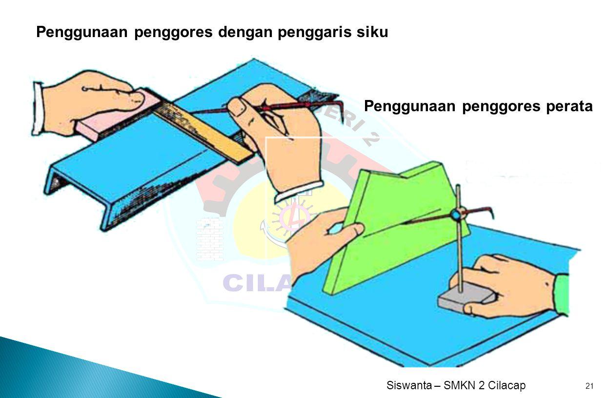 Siswanta – SMKN 2 Cilacap 21 Penggunaan penggores perata Penggunaan penggores dengan penggaris siku