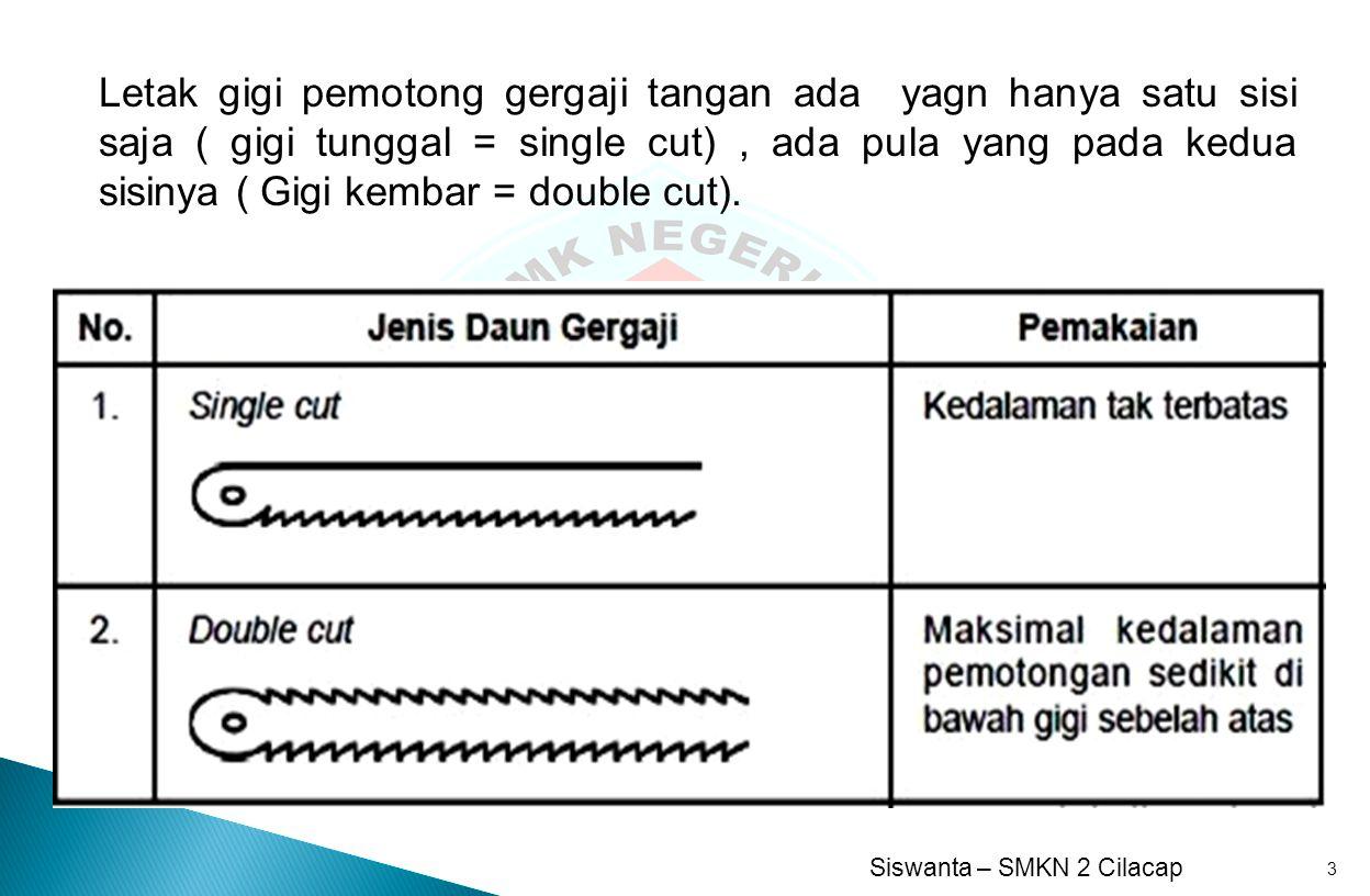 Siswanta – SMKN 2 Cilacap 3 Letak gigi pemotong gergaji tangan ada yagn hanya satu sisi saja ( gigi tunggal = single cut), ada pula yang pada kedua si