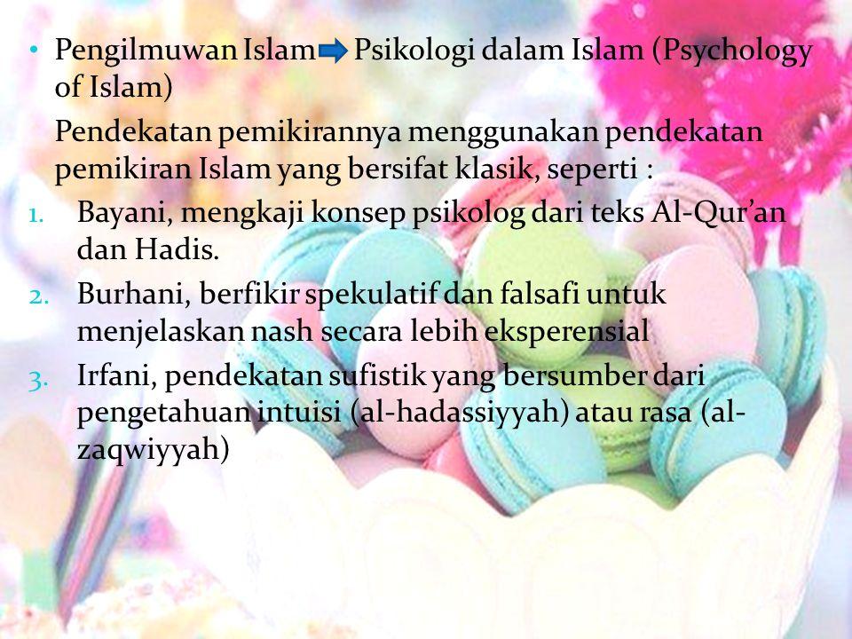 Pengilmuwan Islam Psikologi dalam Islam (Psychology of Islam) Pendekatan pemikirannya menggunakan pendekatan pemikiran Islam yang bersifat klasik, sep