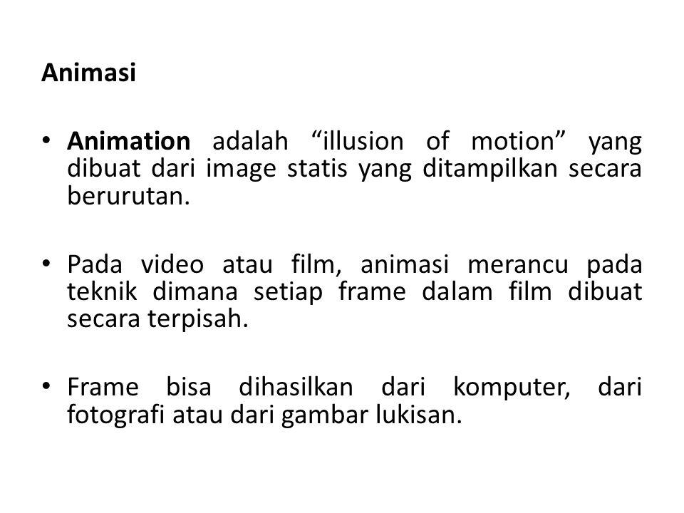 """Animasi Animation adalah """"illusion of motion"""" yang dibuat dari image statis yang ditampilkan secara berurutan. Pada video atau film, animasi merancu p"""