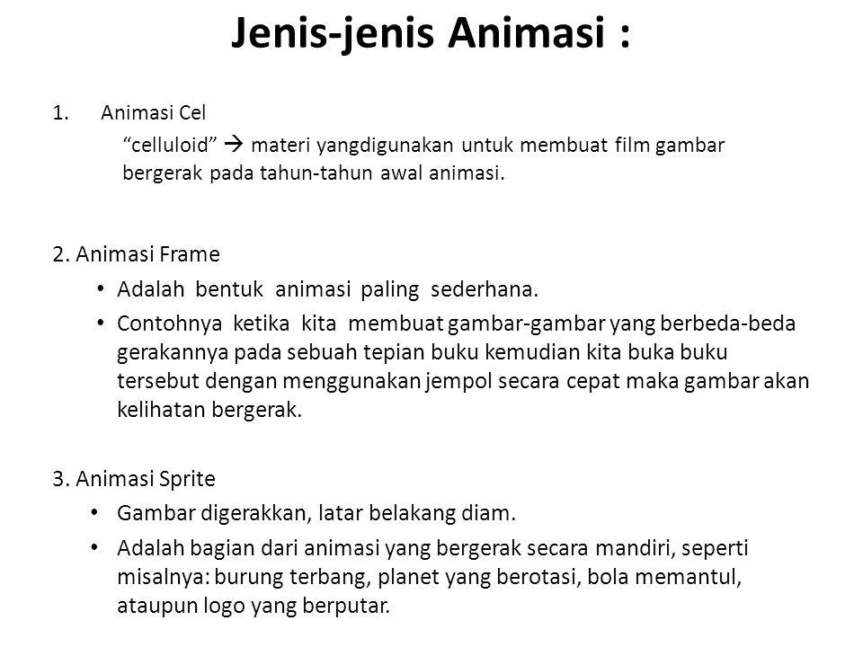 """Jenis-jenis Animasi : 1.Animasi Cel """"celluloid""""  materi yangdigunakan untuk membuat film gambar bergerak pada tahun-tahun awal animasi. 2. Animasi Fr"""