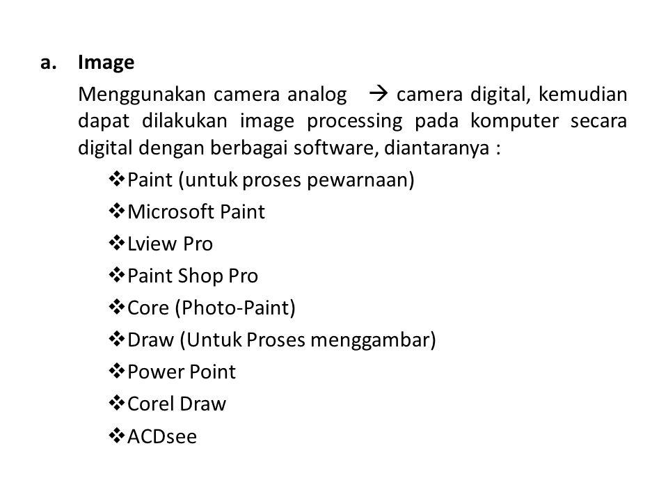 a.Image Menggunakan camera analog  camera digital, kemudian dapat dilakukan image processing pada komputer secara digital dengan berbagai software, d