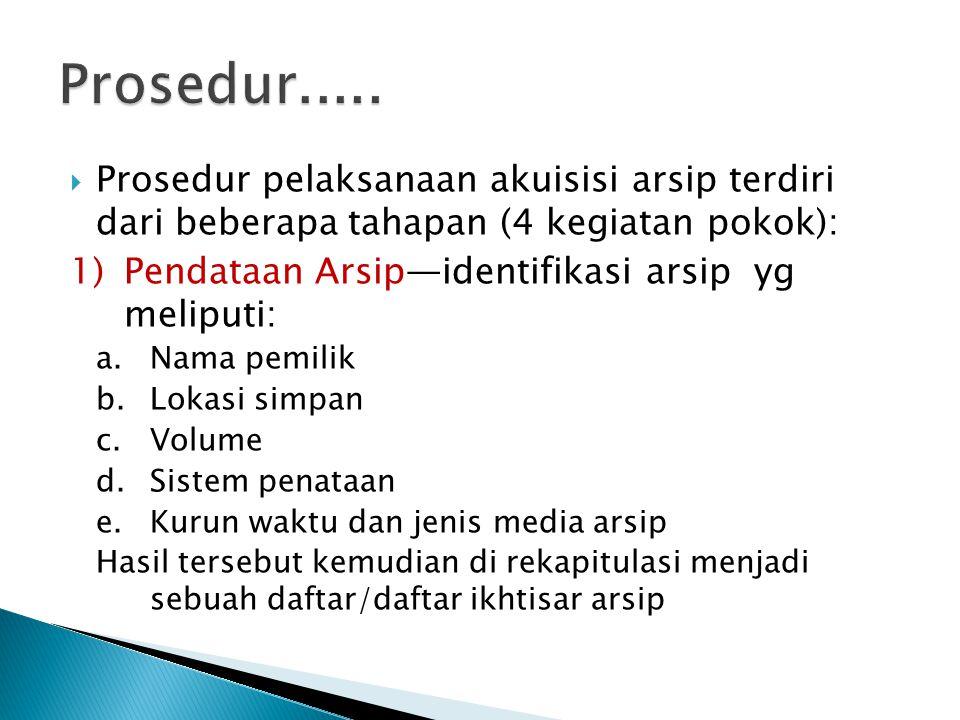  Prosedur pelaksanaan akuisisi arsip terdiri dari beberapa tahapan (4 kegiatan pokok): 1)Pendataan Arsip—identifikasi arsip yg meliputi: a.Nama pemil