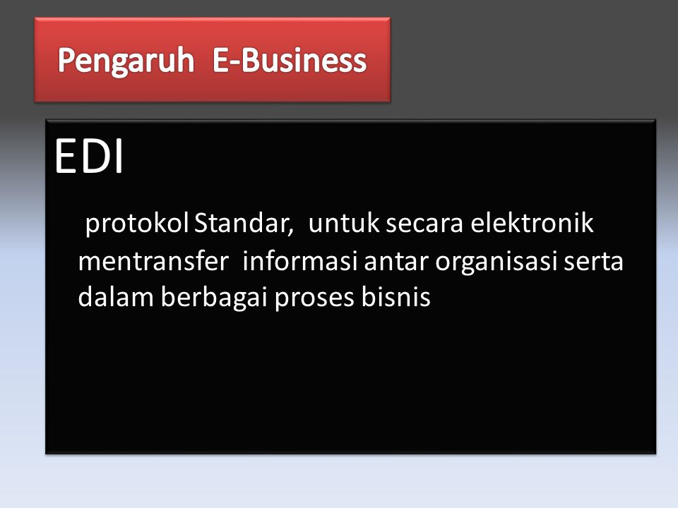 EDI protokol Standar, untuk secara elektronik mentransfer informasi antar organisasi serta dalam berbagai proses bisnis EDI protokol Standar, untuk secara elektronik mentransfer informasi antar organisasi serta dalam berbagai proses bisnis