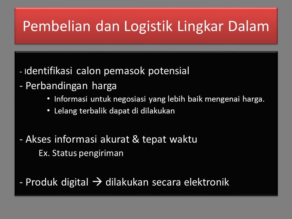 Pembelian dan Logistik Lingkar Dalam - I dentifikasi calon pemasok potensial - Perbandingan harga Informasi untuk negosiasi yang lebih baik mengenai harga.