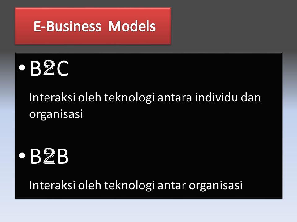 B 2 C Interaksi oleh teknologi antara individu dan organisasi B 2 B Interaksi oleh teknologi antar organisasi B 2 C Interaksi oleh teknologi antara individu dan organisasi B 2 B Interaksi oleh teknologi antar organisasi