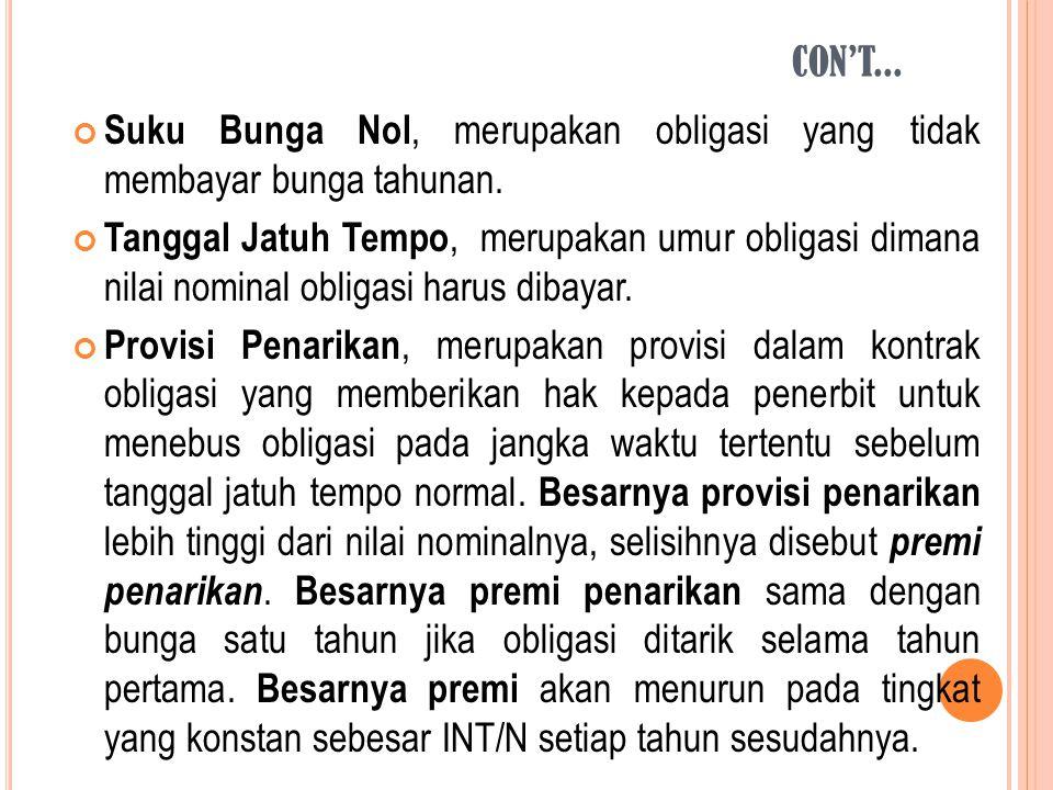 Suku Bunga Nol, merupakan obligasi yang tidak membayar bunga tahunan. Tanggal Jatuh Tempo, merupakan umur obligasi dimana nilai nominal obligasi harus