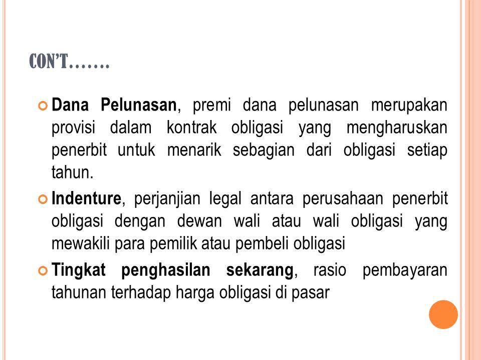 Dana Pelunasan, premi dana pelunasan merupakan provisi dalam kontrak obligasi yang mengharuskan penerbit untuk menarik sebagian dari obligasi setiap t