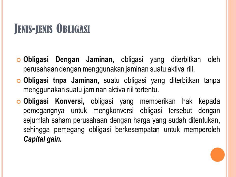Obligasi Dengan Jaminan, obligasi yang diterbitkan oleh perusahaan dengan menggunakan jaminan suatu aktiva riil. Obligasi tnpa Jaminan, suatu obligasi