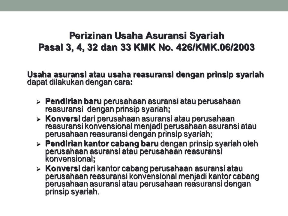Perizinan Usaha Asuransi Syariah Pasal 3, 4, 32 dan 33 KMK No. 426/KMK.06/2003 Usaha asuransi atau usaha reasuransi dengan prinsip syariah dapat dilak