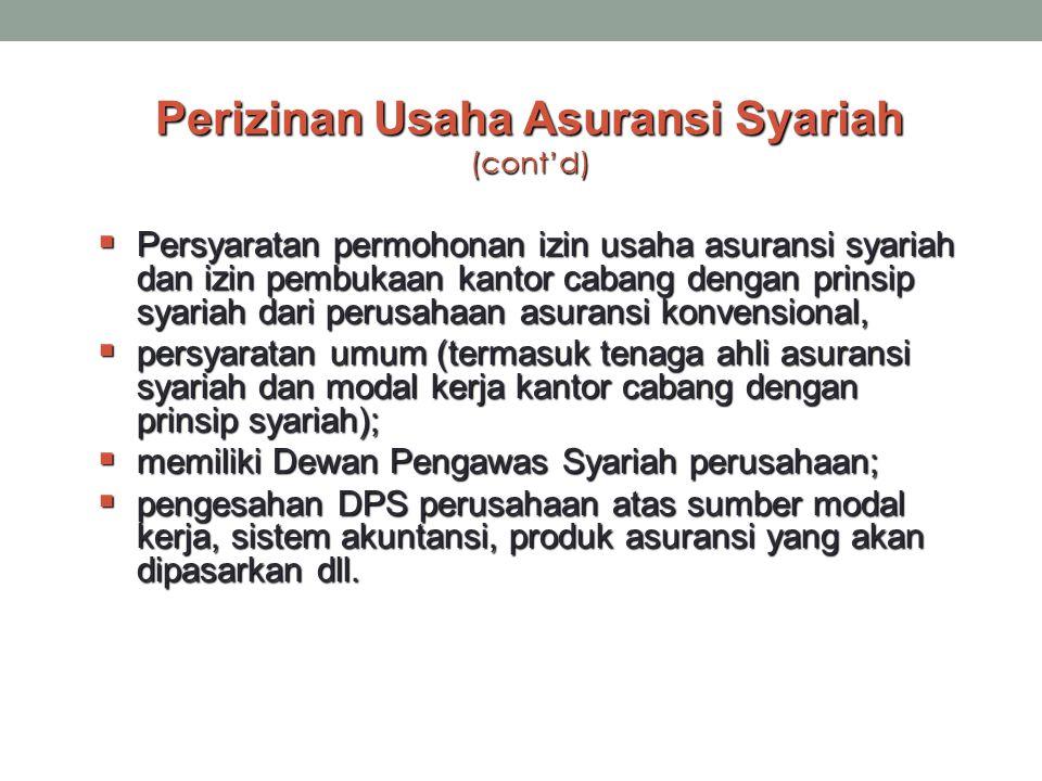 Perizinan Usaha Asuransi Syariah (cont'd)  Persyaratan permohonan izin usaha asuransi syariah dan izin pembukaan kantor cabang dengan prinsip syariah