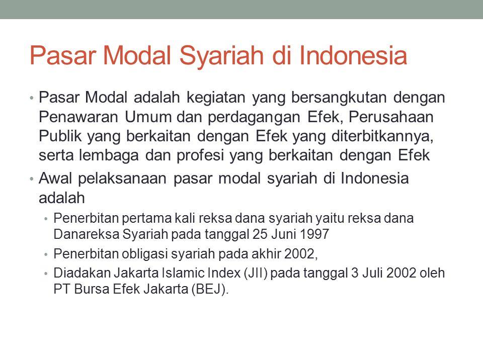 Pasar Modal Syariah di Indonesia Pasar Modal adalah kegiatan yang bersangkutan dengan Penawaran Umum dan perdagangan Efek, Perusahaan Publik yang berk