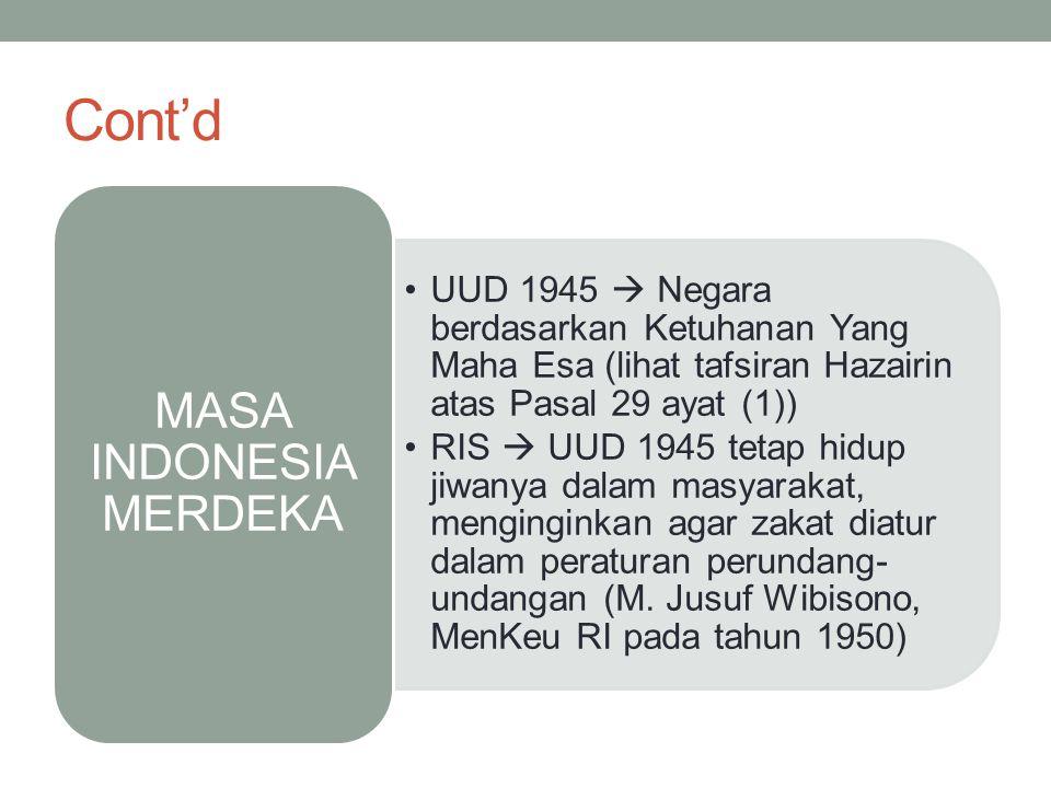 Cont'd UUD 1945  Negara berdasarkan Ketuhanan Yang Maha Esa (lihat tafsiran Hazairin atas Pasal 29 ayat (1)) RIS  UUD 1945 tetap hidup jiwanya dalam