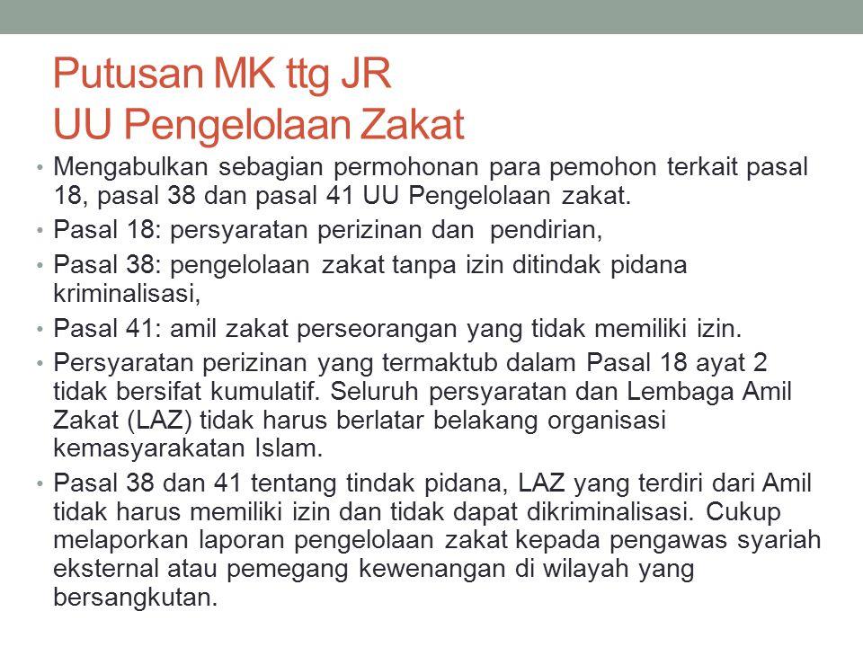 Putusan MK ttg JR UU Pengelolaan Zakat Mengabulkan sebagian permohonan para pemohon terkait pasal 18, pasal 38 dan pasal 41 UU Pengelolaan zakat. Pasa