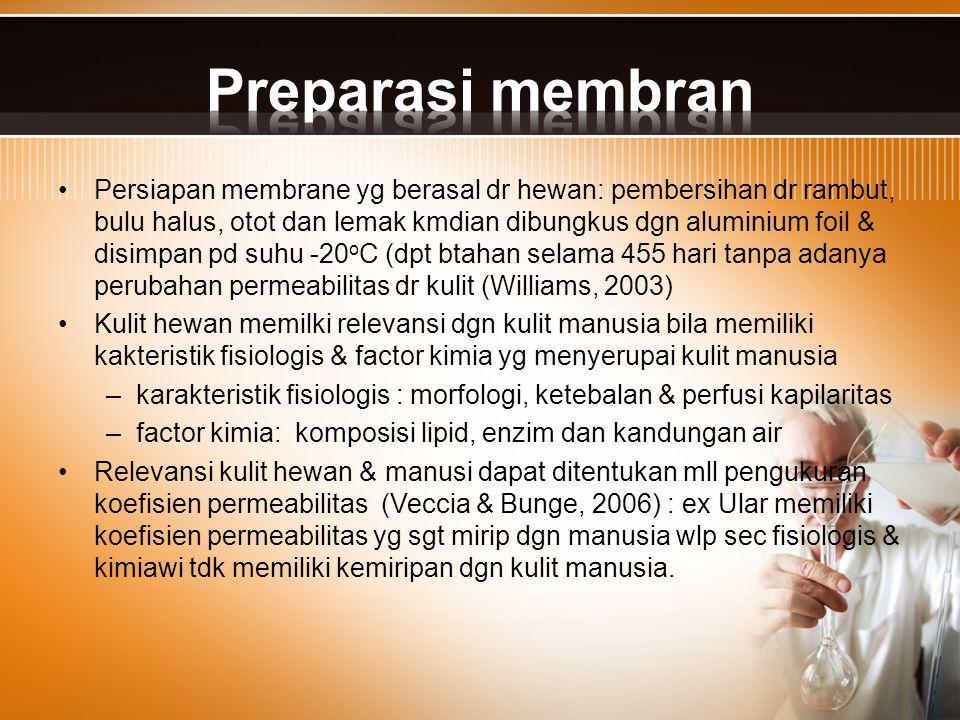 Persiapan membrane yg berasal dr hewan: pembersihan dr rambut, bulu halus, otot dan lemak kmdian dibungkus dgn aluminium foil & disimpan pd suhu -20 o